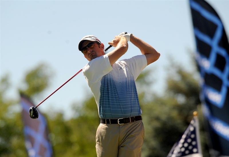 SANDY, UT - SEPTEMBER 11: Jeff Gove hits his tee shot on the 10th hole at the Willow Creek Country Club during the third round of the Utah Championship on September 11, 2010 in Sandy, Utah. (Photo by Steve Dykes/Getty Images)