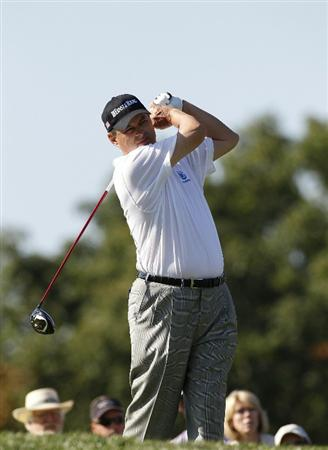 POTOMAC, MD - OCTOBER 10:  Loren Roberts hits his drive on the second hole during the final round of the Constellation Energy Senior Players Championship held at TPC Potomac at Avenel Farm on October 10, 2010 in Potomac, Maryland.  (Photo by Michael Cohen/Getty Images)