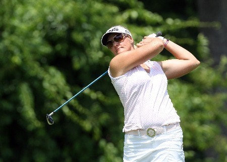 HAVRE DE GRACE, MD - JUNE 07:  Maria Hjorth of Sweden hits her tee shot on the par 5, second hole during the first round of the 2007 McDonalds LPGA Championship held at Bulle Rock golf course, on June 7, 2007 in Havre de Grace, Maryland.  (Photo by David Cannon/Getty Images)
