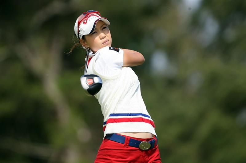 KAHUKU, HI - FEBRUARY 14: Momoko Ueda of Japan hits her tee shot on the 3rd hole during the final round of the SBS Open on February 14, 2009 at the Turtle Bay Resort in Kahuku, Hawaii.  (Photo by Andy Lyons/Getty Images)