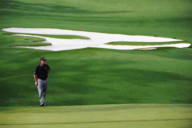 AUGUSTA, GA - APRIL 11:  Todd Hamilton waits on the tenth hole during the third round of the 2009 Masters Tournament at Augusta National Golf Club on April 11, 2009 in Augusta, Georgia.  (Photo by Harry How/Getty Images)