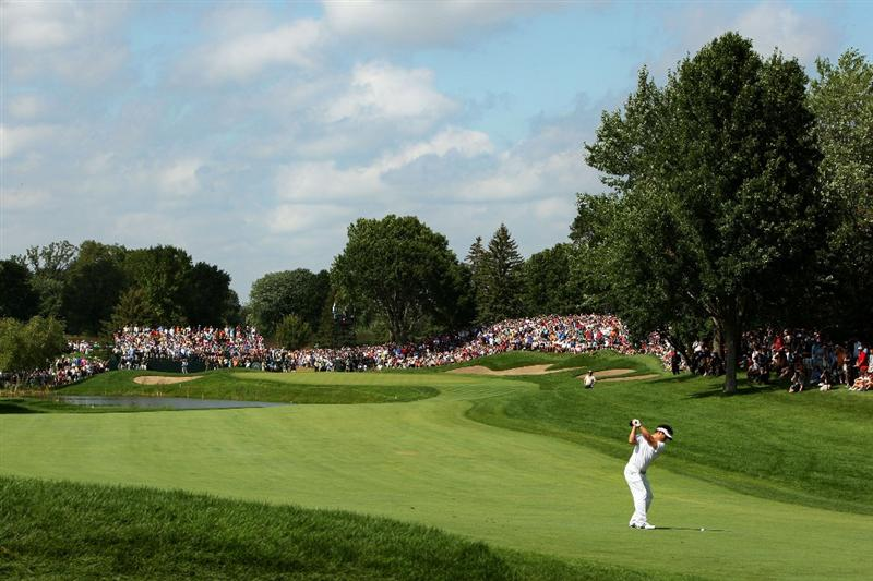 CHASKA, MN - AUGUST 16:  Y.E. Yang of South Korea hits a shot on the seventh hole during the final round of the 91st PGA Championship at Hazeltine National Golf Club on August 16, 2009 in Chaska, Minnesota.  (Photo by Streeter Lecka/Getty Images)
