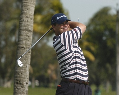 Jay Williamson  tees off on the ninth hole during  final-round competition March 6, 2005  at the Ford Championship at Doral in Miami.