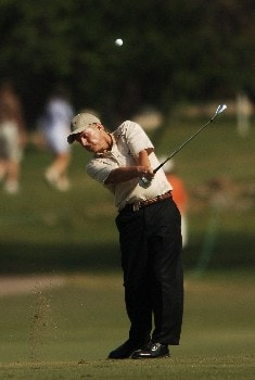 Wayne Levi hits from the 14th fairway during the final round of the 2005 FedEx Kinko's Classic at the Hills Country Club in Austin, Texas May 1, 2005.Photo by Steve Grayson/WireImage.com