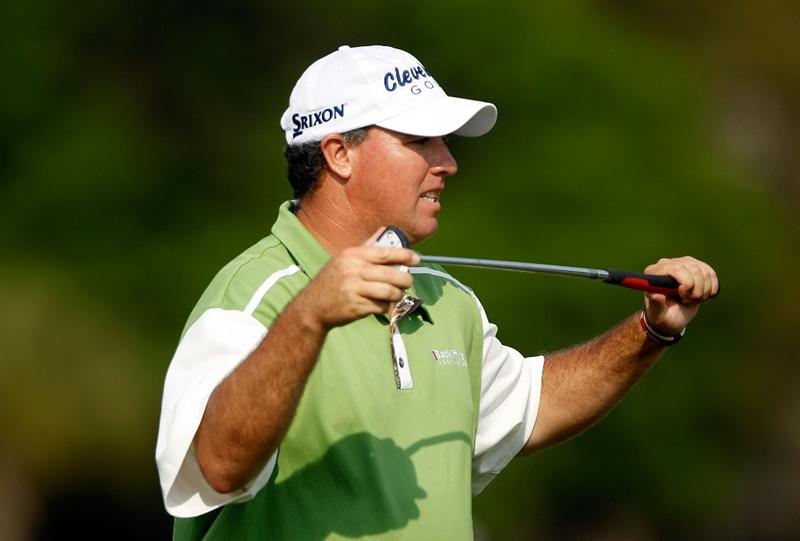 HILTON HEAD ISLAND, SC - APRIL 17:  Boo Weekley reacts to a missed putt on the 17th green during the third round of the Verizon Heritage at the Harbour Town Golf Links on April 17, 2010 in Hilton Head lsland, South Carolina.  (Photo by Scott Halleran/Getty Images)