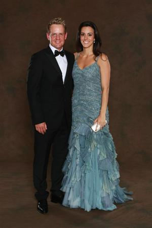 NEWPORT, WALES - SEPTEMBER 29:  Luke Donald of the European Ryder Cup team poses with his wife Diane prior to the 2010 Ryder Cup Dinner at the Celtic Manor Resort on September 29, 2010 in Newport, Wales.  (Photo by David Cannon/Getty Images)