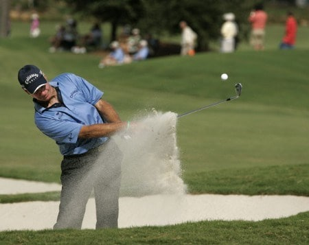 Bruce Fleisher hits out of a bunker on the 18th hole during the second round of the 2005 SAS Championship Saturday, Oct. 1, 2005, at Prestonwood Country Club in Cary, N.C.Photo by Grant Halverson/WireImage.com
