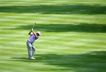 AKRON, OH - JULY 31:  Tim Clark of South Africa plays his approach shot on the third hole during first round of the World Golf Championship Bridgestone Invitational on July 31, 2008 at Firestone Country Club in Akron, Ohio.  (Photo by Stuart Franklin/Getty Images)