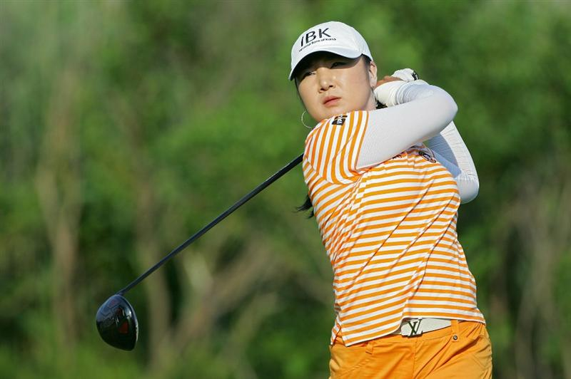 GALLOWAY, NJ - JUNE 19:  Jeong Jang of South Korea hits a drive during the second round of the ShopRite LPGA Classic held at Dolce Seaview Resort (Bay Course) on June 19, 2010 in Galloway, New Jersey.  (Photo by Michael Cohen/Getty Images)