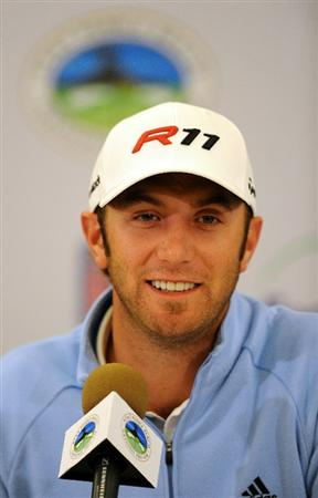 PEBBLE BEACH, CA - FEBRUARY 09:  Defending champion Dustin Johnson addresses the media during his poress conference prior to the start of the AT&T Pebble Beach National Pro-Am at Pebble Beach Golf Links on February 9, 2011  in Pebble Beach, California.  (Photo by Stuart Franklin/Getty Images)