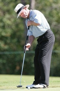 Tom Kite lines up a put during the first round of the Administaff Small Business Classic at Augusta Pines Golf Course October 12, 2007 in Spring, Texas. Champions Tour - 2007 Administaff Small Business Classic - First RoundPhoto by Bob Levey/WireImage.com