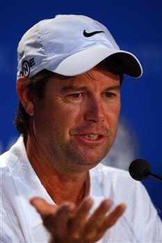 BLOOMFIELD HILLS, MI - AUGUST 06:  Paul Azinger talks to the media during a practice round prior to the 90th PGA Championship at Oakland Hills Country Club on August 6, 2008 in Bloomfield Township, Michigan.  (Photo by Stuart Franklin/Getty Images)