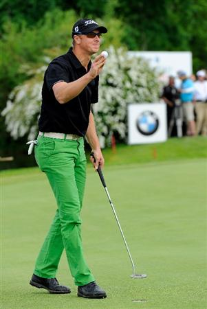 TURIN, ITALY - MAY 08:  Fredrik Andersson Hed of Sweden celebrates his putt on the 18th hole during the third round of the BMW Italian Open at Royal Park I Roveri on May 8, 2010 in Turin, Italy.  (Photo by Stuart Franklin/Getty Images)