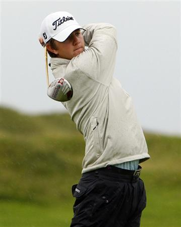 LLANELLI, WALES - SEPTEMBER 02: James Frazer of Pennard tees off from the 17th hole during the RWC2010 Welsh National PGA Championship at The Ashburnham Golf Club on September 02, 2009 in Llanelli, Wales.  (Photo by Tom Dulat/Getty Images)