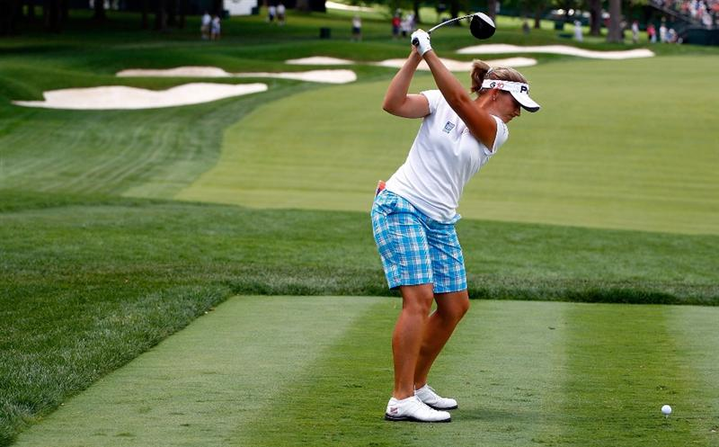 BETHLEHEM, PA - JULY 08:  Angela Stanford hits a shot during a practice round prior to the start of thw 2009 U.S. Women's Open at the Saucon Valley Country Club on July 8, 2009 in Bethlehem, Pennsylvania.  (Photo by Scott Halleran/Getty Images)