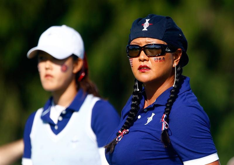 SUGAR GROVE, IL - AUGUST 22:  (L-R) Michelle Wie and Christina Kim of the U.S. Team watch a shot on the third tee during the saturday morning fourball matches at the 2009 Solheim Cup at Rich Harvest Farms on August 22, 2009 in Sugar Grove, Illinois.  (Photo by Scott Halleran/Getty Images)