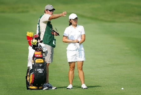 HAVRE DE GRACE, MD - JUNE 08:  Angela Park and her caddie discuss a shot on the par 5 15th hole during the second round of the McDonalds LPGA Championship at Bulle Rock golf course on June 8, 2007 in Havre de Grace, Maryland.  (Photo by Andy Lyons/Getty Images)
