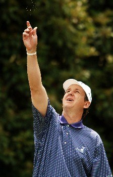 J.J. Henry test the direction of the wind on the fifth tee during the final round of the 2005 EDS Byron Nelson Championship at TPC Los Colinas in Los Colinas, Texas May 15, 2005.Photo by Steve Grayson/WireImage.com