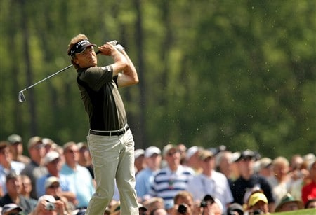 AUGUSTA, GA - APRIL 09:  Bernhard Langer of Germany hits a shot during the third day of practice prior to the start of the 2008 Masters Tournament at Augusta National Golf Club on April 9, 2008 in Augusta, Georgia.  (Photo by Harry How/Getty Images)