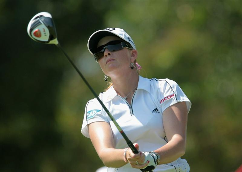 SINGAPORE - FEBRUARY 25:  Paula Creamer of the USA watches her tee shot on the 15th hole during the second round of the HSBC Women's Champions 2011 at the Tanah Merah Country Club on February 25, 2011 in Singapore, Singapore.  (Photo by Scott Halleran/Getty Images)