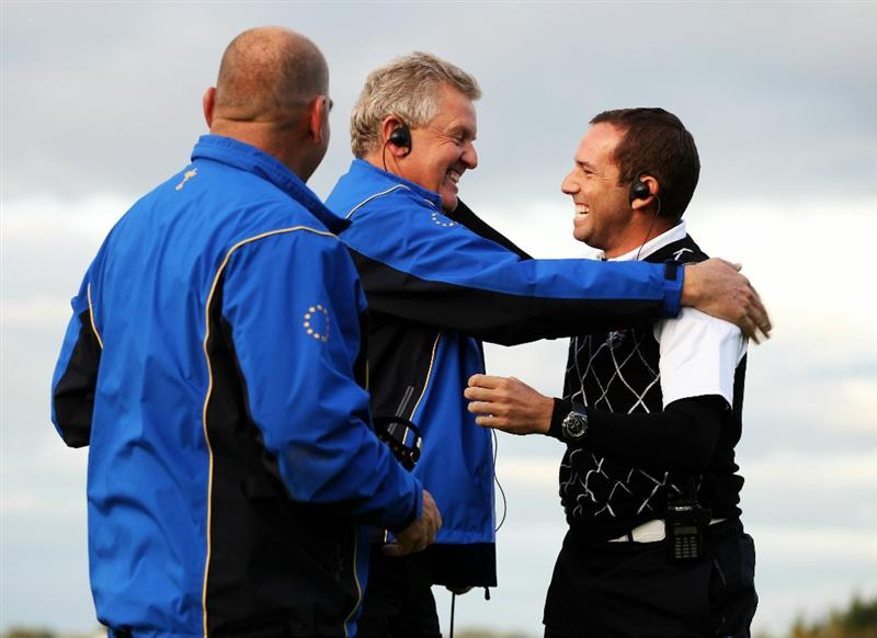 NEWPORT, WALES - OCTOBER 03:  Europe Captain Colin Montgomerie reacts with Vice Captain Sergio Garcia (R) during the  Fourball & Foursome Matches during the 2010 Ryder Cup at the Celtic Manor Resort on October 3, 2010 in Newport, Wales.  (Photo by Jamie Squire/Getty Images)