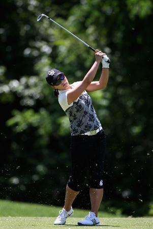 SPRINGFIELD, IL - JUNE 05:  Se Ri Pak of South Korea hits her second shot on the eighth hole during the second round of the LPGA State Farm Classic golf tournament at Panther Creek Country Club on June 5, 2009 in Springfield, Illinois.  (Photo by Christian Petersen/Getty Images)