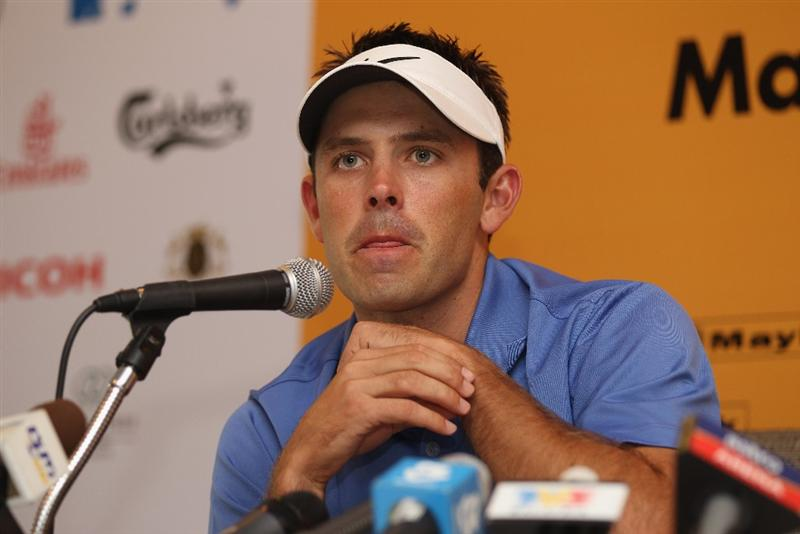 KUALA LUMPUR, MALAYSIA - APRIL 13:  Charl Schwartzel of South Africa speaks to the press during a practice round ahead of the Maybank Malaysian Open at Kuala Lumpur Golf & Country Club on April 13, 2011 in Kuala Lumpur, Malaysia.  (Photo by Ian Walton/Getty Images)
