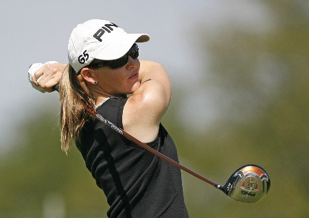 SPRINGFIELD, IL - AUGUST 30:  Stephanie Louden hits her tee shot on the 3rd hole during the first round of the State Farm Classic at Panther Creek Country Club on August 30, 2007 in Springfield, Illinois. (Photo by Hunter Martin/Getty Images)