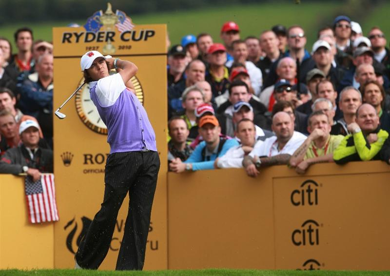 NEWPORT, WALES - OCTOBER 02:   Rickie Fowler of the USA tees off during the rescheduled Afternoon Foursome Matches during the 2010 Ryder Cup at the Celtic Manor Resort on October 2, 2010 in Newport, Wales. (Photo by Andrew Redington/Getty Images)