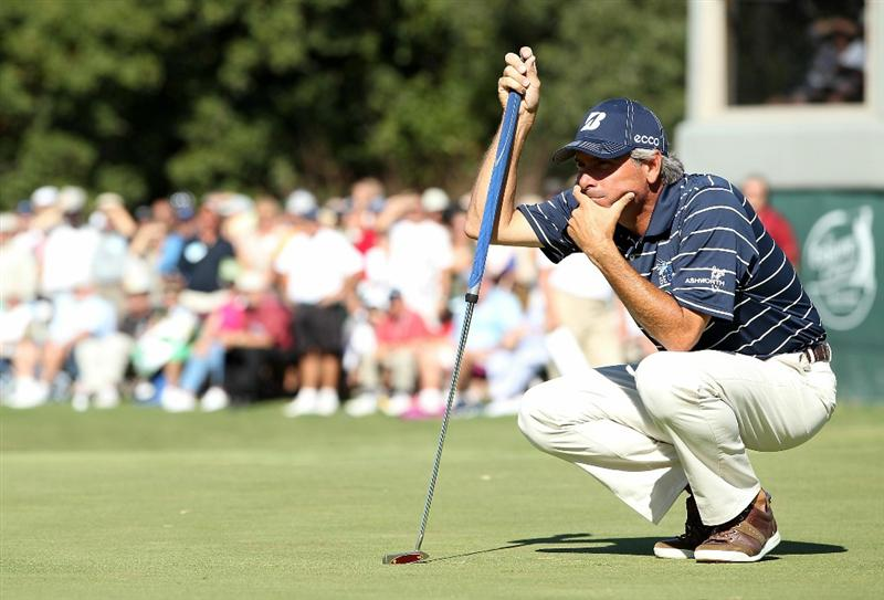 CONOVER, NC - OCTOBER 02:  Fred Couples surveys the 18th hole green during the second round of the Ensure Classic at the Rock Barn Golf & Spa on October 2, 2010 in Conover, North Carolina.  (Photo by Christian Petersen/Getty Images)