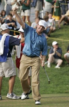 Jason Bohn celebrates his win after saving par on #18 in the fourth round of the 2005 B.C. Open at En-Joi Golf Club in Endicott, New York. Sunday, July 17 2005.Photo by Chris Condon/PGA TOUR/WireImage.com