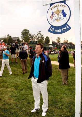 LOUISVILLE, KY - SEPTEMBER 20:  European captain Nick Faldo stands on the first tee during the morning foursome matches on day two of the 2008 Ryder Cup at Valhalla Golf Club on September 20, 2008 in Louisville, Kentucky.  (Photo by David Cannon/Getty Images)