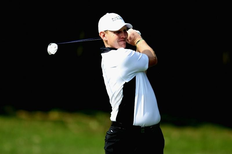HONG KONG - NOVEMBER 18:  Stephen Gallacher of Scotland watches his 2nd shot on the 3rd hole during previews ahead of the USB Hong Kong Open at The Hong Kong Golf Club  on November 18, 2010 in Hong Kong, Hong Kong.  (Photo by Stanley Chou/Getty Images)