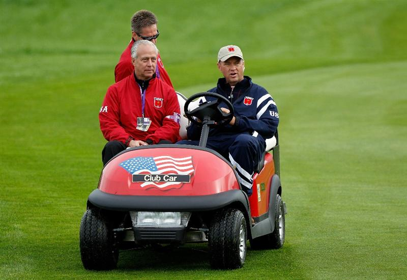 NEWPORT, WALES - SEPTEMBER 30:  USA Vice Captain Davis Love III looks on from a buggy during a practice round prior to the 2010 Ryder Cup at the Celtic Manor Resort on September 30, 2010 in Newport, Wales.  (Photo by Sam Greenwood/Getty Images)