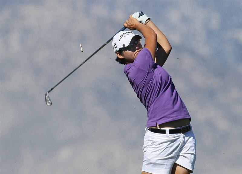 RANCHO MIRAGE,CA - MARCH 31: Yani Tseng of Taiwan hits her tee shot on the eighth hole during the first round of the Kraft Nabisco Championship at Rancho Mirage Country Club on March 31, 2011 in Rancho Mirage, California.  (Photo by Stephen Dunn/Getty Images)