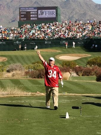 SCOTTSDALE, AZ - JANUARY 30: Billy Mayfair wears an Arizona Cardinals jersey in recognition of the upcoming Super Bowl as he waves to the crowd on the 16th during the second round of the FBR Open on January 30, 2009 at TPC Scottsdale in Scottsdale, Arizona. (Photo by Stephen Dunn/Getty Images)