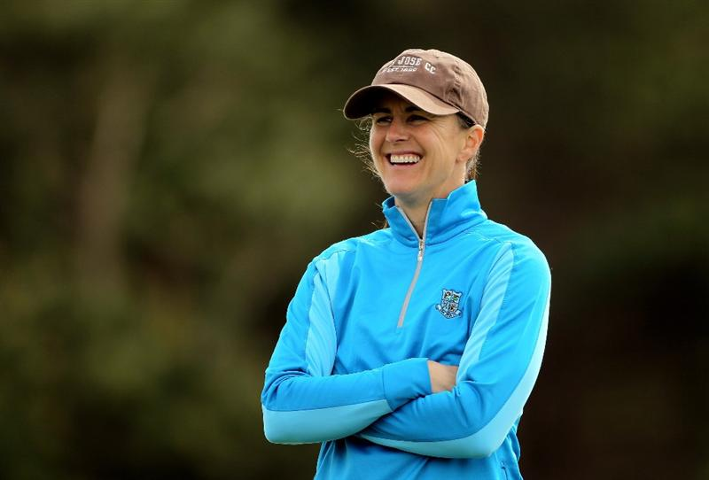 PEBBLE BEACH, CA - FEBRUARY 11:  Brandi Chastain smiles during the first round of the AT&T Pebble Beach National Pro-Am at at the Spyglass Hill Golf Course on February 11, 2010 in Pebble Beach, California.  (Photo by Ezra Shaw/Getty Images)