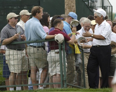 Lee Trevino greets fans during the second round of the Liberty Mutual Legends of Golf at Westin Savannah Harbor Golf Resort & Spa in Savannah, Georgia, on April 22, 2006.Photo by Steve Levin/WireImage.com