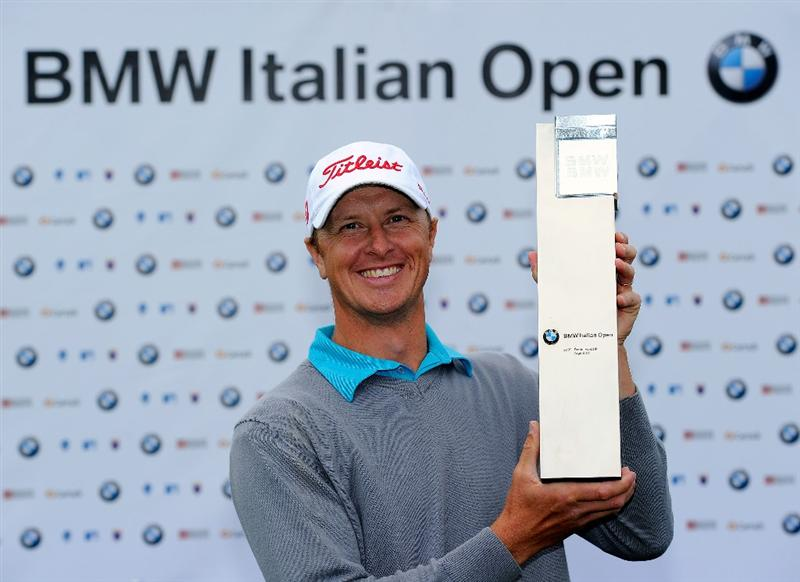 TURIN, ITALY - MAY 09:  Fredrik Andersson Hed of Sweden poses with the trophy for winning the BMW Italian Open at Royal Park I Roveri on May 9, 2010 in Turin, Italy.  (Photo by Stuart Franklin/Getty Images)