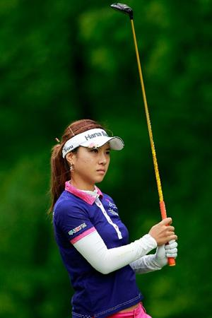 GLADSTONE, NJ - MAY 19:  Hee Young Park of South Korea hits her tee shot on the third hole during round one of the Sybase Match Play Championship at Hamilton Farm Golf Club on May 19, 2011 in Gladstone, New Jersey.  (Photo by Chris Trotman/Getty Images)