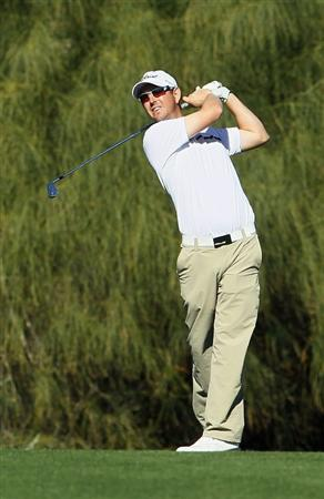 LA QUINTA, CA - JANUARY 20:  Matt McQuillan of Canada hits his second shot from the fifth fairway during the second round of the Bob Hope Classic at the Nicklaus Private course at PGA West on January 20, 2011 in La Quinta, California.  (Photo by Jeff Gross/Getty Images)