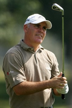 NEW DELHI, INDIA - FEBRUARY 29:  Phillip Archer of England plays his second shot into the ninth green during the second round of the 2008 Johnnie Walker Classic held at The DLF Golf and Country Club on February 29, 2008 in New Delhi, India.  (Photo by Warren Little/Getty Images)