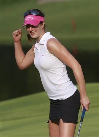 ROGERS, AR - SEPTEMBER 11: Sandra Gal of Germany reacts after making an eagle putt on the 18th hole to take the lead in first round play in the P&G Beauty NW Arkansas Championship at the Pinnacle Country Club on September 11, 2009 in Rogers, Arkansas.  (Photo by Dave Martin/Getty Images)