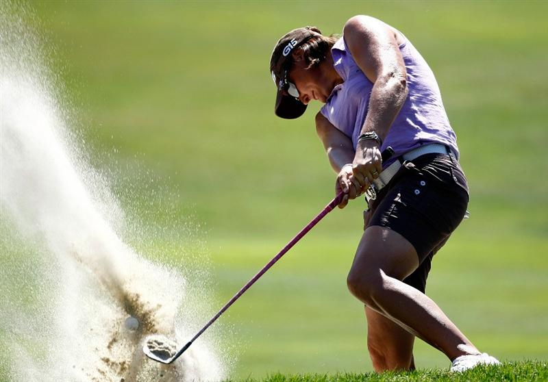 DANVILLE, CA - SEPTEMBER 26:  Maria Hjorth of Sweden hits out of the bunker on the 8th hole during the third round of the CVS/pharmacy LPGA Challenge at Blackhawk Country Club on September 26, 2009 in Danville, California.  (Photo by Jonathan Ferrey/Getty Images)