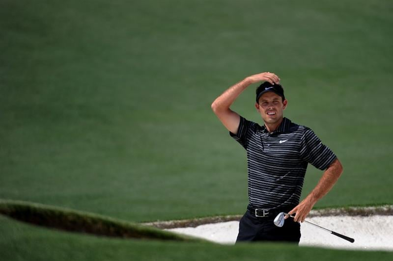 AUGUSTA, GA - APRIL 10:  Charl Schwartzel of South Africa watches his bunker shot on the second hole during the final round of the 2011 Masters Tournament at Augusta National Golf Club on April 10, 2011 in Augusta, Georgia.  (Photo by Harry How/Getty Images)