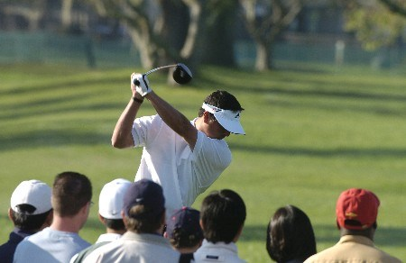 Pat Perez drives off the 15th tee as  play in the final holes of the third round continues at  the Bay Hill Invitational March 20, 2005 in Orlando.