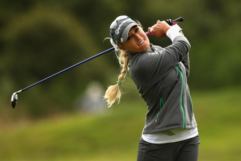 LYTHAM ST ANNES, ENGLAND - JULY 31:  Natalie Gulbis of USA hits her second shot on the 11th hole during the second round of the 2009 Ricoh Women's British Open Championship held at Royal Lytham St Annes Golf Club, on July 31, 2009 in  Lytham St Annes, England.  (Photo by Warren Little/Getty Images)
