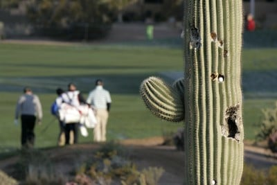 Players walk down the first fairway during the second round of the FBR Open held at TPC Scottsdale in Scottsdale, Arizona, on February 2, 2007.  Photo by: Stan Badz/PGA TOURPhoto by: Stan Badz/PGA TOUR