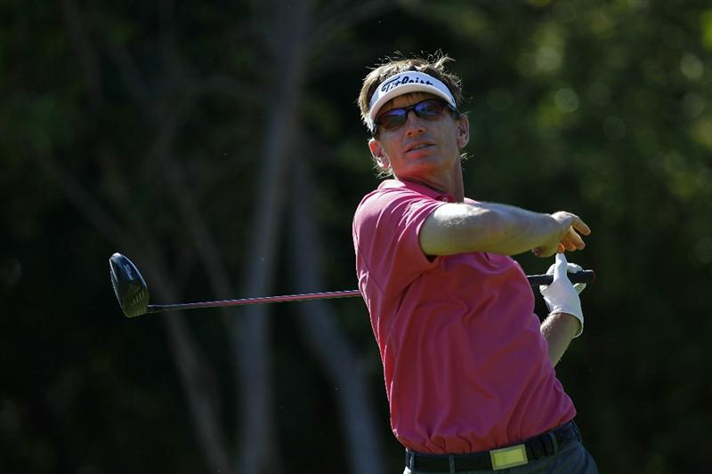 PLAYA DEL CARMEN, MEXICO - FEBRUARY 24:  Brad Faxon reacts to his drive during the first round of the Mayakoba Golf Classic at Riviera Maya-Cancun held at El Camaleon Golf Club on February 24, 2011 in Playa del Carmen, Mexico.  (Photo by Michael Cohen/Getty Images)