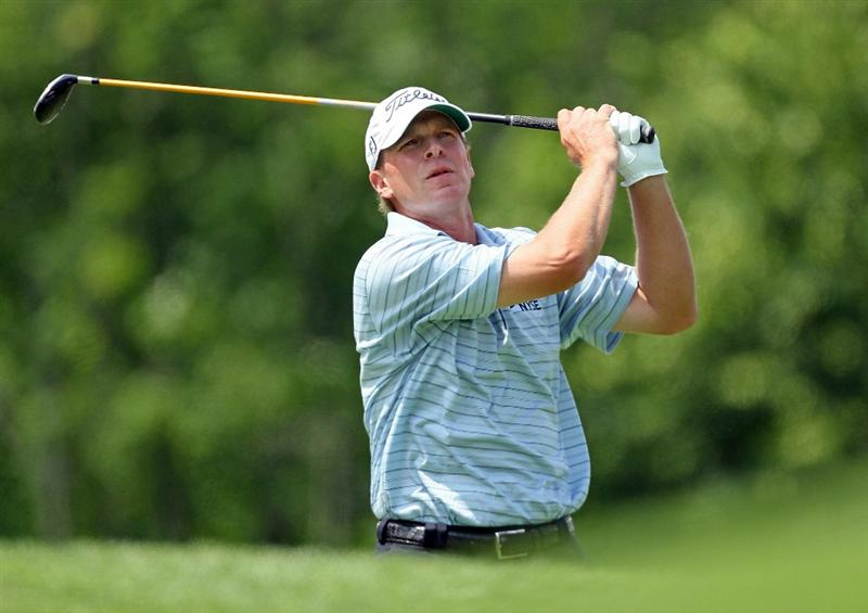 DUBLIN, OH - JUNE 03:  Steve Stricker hits his tee shot on the 3rd hole during the first round of The Memorial Tournament presented by Morgan Stanley at Muirfield Village Golf Club on June 3, 2010 in Dublin, Ohio.  (Photo by Andy Lyons/Getty Images)